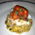 Pecan-Crusted Monkfish with Bourbon Corn & Roasted Tomatoes