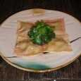 Peach, Walnut & Beet Ravioli with Rhubarb Butter